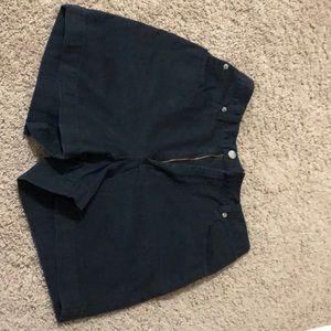 banana republic black jean shorts